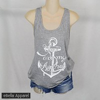 You Are My Anchor - Women's Plus Size Heather Grey, Graphic Print Tank Top