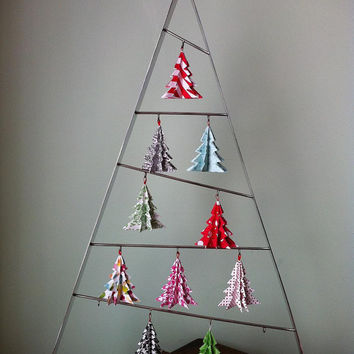 Origami Christmas Tree Ornaments (Bright) - Three Ornaments