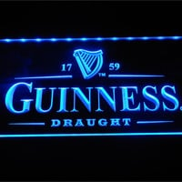 Vintage Guinness Beer Logo LED Neon Bar Sign with On/Off Switch 7 Colors to choose