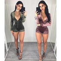 BKLD 2017 NEW Velvet Tube Top Pants Sexy Shorts Rompers Womens Jumpsuit V Neck Long Sleeve Velvet Bodysuit Women Top Casual