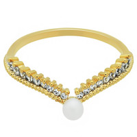 Gold Crown Ring Plated Gold Pearl Ring, Promise Ring Delicate Jewelry