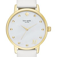 kate spade new york 'metro - monogram' leather strap watch, 34mm | Nordstrom