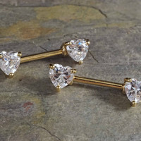 Crystal Heart Gold Nipple Bar Jewelry Barbell