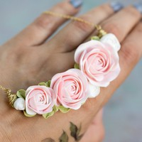 Pink White Rose Ranunculus Pendant Medaliion Necklace Wholesale Handmade Women Gift Accessory Jewelry Birthday Wedding Bridal Mother Gift