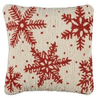 """Icy Flakes 18"""" Hooked Wool Pillow"""