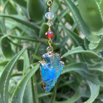Blue Arrowhead Crystal Necklace #I1198