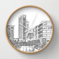 Clarence Dock Leeds Drawing Wall Clock by Karl Wilson Photography