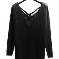 Black Chunky Jumper with Strap Cross Back