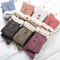 Year End Sale!!! Lace boots socks / lace long stockings / lace button stockings / lace leg warmers / wool stockings / wool socks