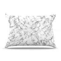 "Will Wild ""Marble"" White Gray Pillow Case"