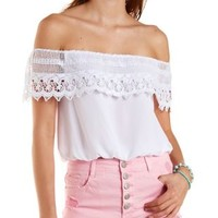 White Crochet Off-the-Shoulder Flounce Top by Charlotte Russe