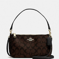 New Authentic Coach F58321 Messico Top Handle Pouch Crossbody Shoulder Bag Purse Messenger Brown