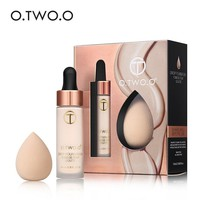 O.TWO.O Makeup Kits Liquid Foundation+Cosmetics Puff Base Concealer Foundation Makeup Face Corrector Long Lasting Daily Makeup