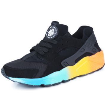 """""""NIKE""""AIR Huarache Running Sport Casual Shoes Sneakers Black(blue&yellow soles)"""