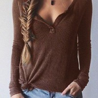 Brown Ribbed Knit Long Sleeve T-shirt