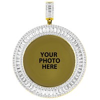Gold Tone Baguette Icy Round Big Picture Gift Silver Icy Pendant