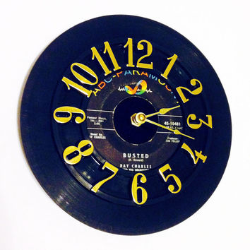 Record Clock, Vinyl Record Clock, Wall Clock, Ray Charles Record, Recycled Record, Upcycle, Battery & Wall Hanger included, Item #64