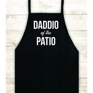 Daddio of the Patio Apron Heat Press Vinyl Bbq Barbeque Cook Grill Chef Bake Food Funny Gift Men Kitchen