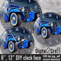"Vintage old car Face - 12"" and 8"" Digital Downloads - DIY - Printable Image - Iron On Transfer - Wall Decor - Crafts - jpg+pdf"