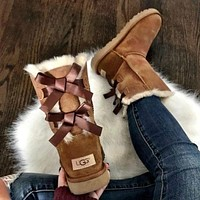 UGG Hot Selling Classic Short Snow Boots Casual Double Bowknot High Top Warm Boots Shoes