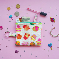 Cute Cupcake Printed Coin Purse ,Mini Wallet,ID Holder, Coin Purse, Small Accessory Pouch ,Keychain Wallet,Credit Card Case