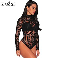 ZKESS Black Stretchy Turtleneck Long Sleeve Sexy Lace Bodysuit 2017 New Spring Mesh Bodysuit for Women Rompers LC32110
