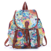Flower Painting College School Bag Travel Bag Canvas Lightweight Casual Backpack