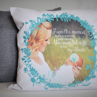 Photo Pillow Cover, Picture Pillow Cover, Personalized Mothers Day gift, Personalized pillow cover, baby gift, CUSTOMIZE, 18x18, new mom