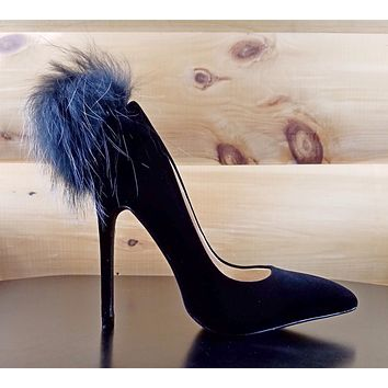 "Liliana Black Velvet Single Sole Pointy Toe Pump Fur Pom Pom 5"" Heel Shoe"