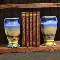 Southwest Painted Vases - 1930s 40s Roadside Tourist Souvenir - Made In America - Chippy Paint
