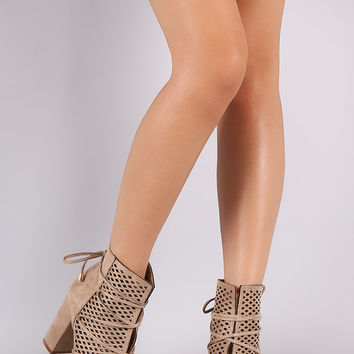 Perforated Suede Lace-Up Chunky Heeled Ankle Boots