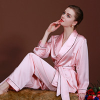 2015new  womens imitated silk luxury pajamas sets, long sleeve two-piece brand sleepwear spring summer home clothing