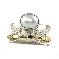 Pearl Three Tone Sterling Silver Bridge Spinner Ring