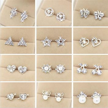 Fashion Brand Rhinestone Stud Earrings Women Alloy Crystal jewelry