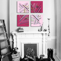 """Original abstract painting. 4 piece canvas art. 26x26"""" Large painting with girly colors. Pink painting with magenta, gold, silver, black."""