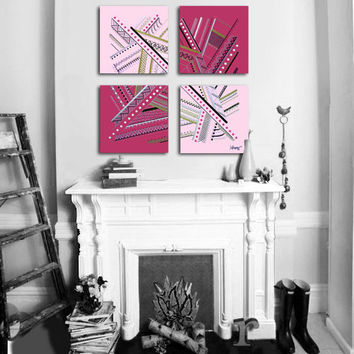 "Original abstract painting. 4 piece canvas art. 26x26"" Large painting with girly colors. Pink painting with magenta, gold, silver, black."