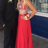 Two Piece Prom Dresses, Red Prom Dresses, Long Evening Dress