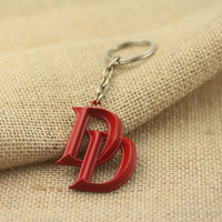 HOT Movie Latest Fashion Accessories Marvel Jewelry 3D Comics Superhero Daredevil Double D Red Pendant Keychain fans Collection