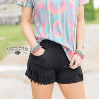 Black Betty Fringe Shorts by Crazy Train