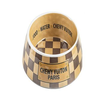 Chewy Vuiton Dog Bowl - Checker