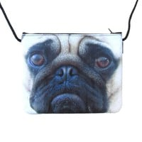 Adorable Pug Puppy Dog Face Print Rectangular Shaped Cross Body Bag | Gifts for Dog Lovers