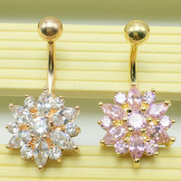 Navel Bar Body Piercing Gold Belly Button Rings Crystal Flower Jewelry + Gift Box
