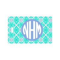 Sea Tile Luggage Tags with Monogram and Address