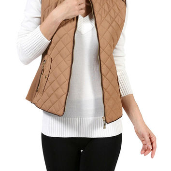 Quilted Padded Zip Up Winter Vest Jackets
