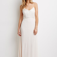 Embroidered Neckline Gauze Dress