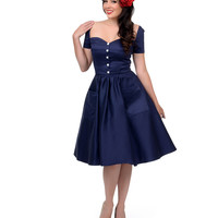Unique Vintage 1950s Style Navy Rhapsody Swing Dress