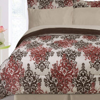 Kids Bedding- 8 Piece Pearl Reversible Bed in a Bag- Taupe/ Chocolate/ Burgundy