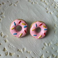Strawberry Frosted Doughnuts with Sprinkles Earrings by zebracakes