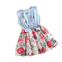 Summer Baby Girl Tutu Denim Dress Short Sleeve Lace Princess Party Skirts = 1929777476