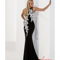 Preorder - Jasz Couture 5708 Black & White Fitted Sexy Embellished Long Gown 2016 Prom Dresses
